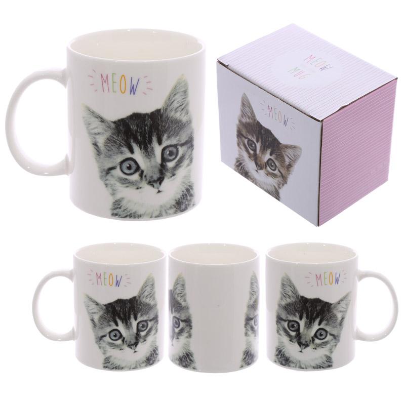 Fun New Bone China Mug MEOW Cute Kitten Design
