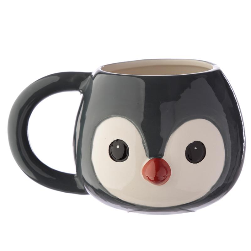 Ceramic Animal Shaped Head Mug Penguin