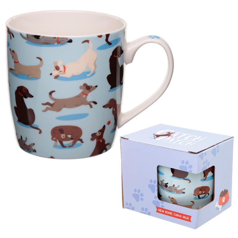 Porcelain Mug Catch Patch Dog Design