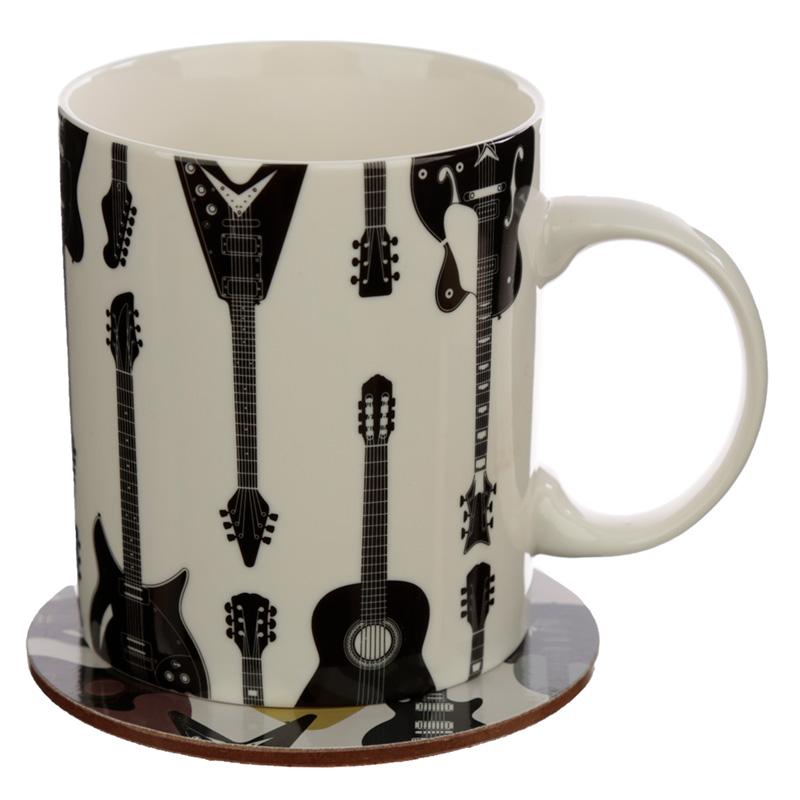Porcelain Mug and Coaster Gift Set Headstock Guitar