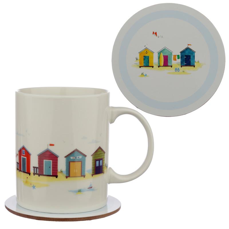 Porcelain Mug and Coaster Gift Set Portside Seaside