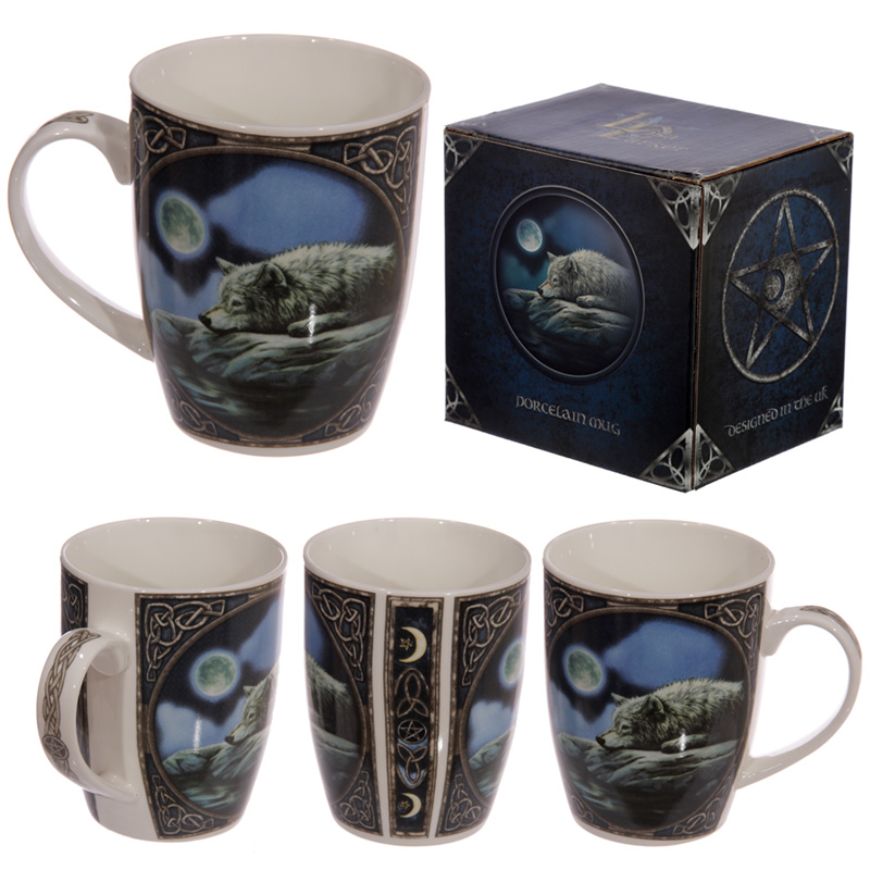 Fantasy Wolf Lake Design Porcelain Mug