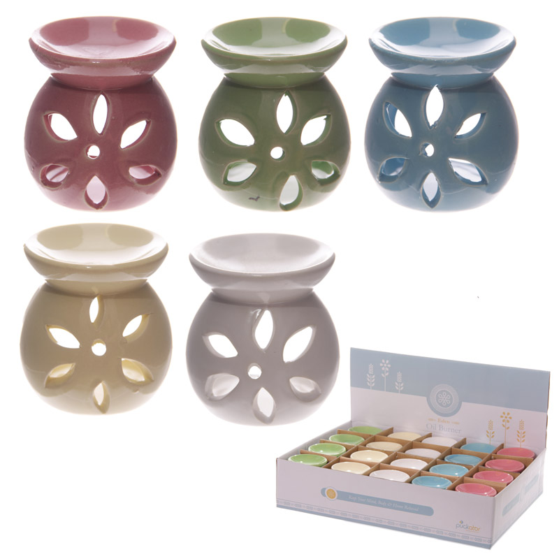 Simple Coloured Cut Out Design Ceramic Oil Burner