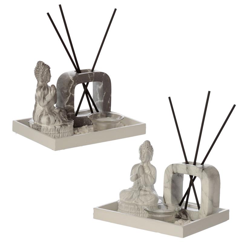 Eden Aroma Set Meditating Buddha Tea Light Holder  Reed Holder