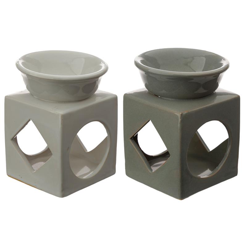 Cube Ceramic Eden Oil and Tart Burner with Geometric Cutout