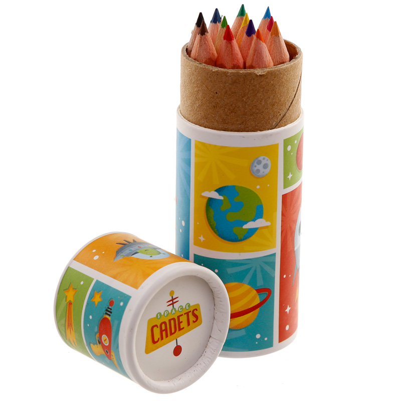 Fun Kids Colouring Pencil Tube Space Cadet