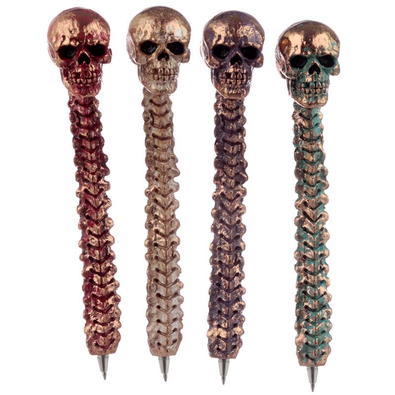 Fun Novelty Metallic Skull and Spine Pen