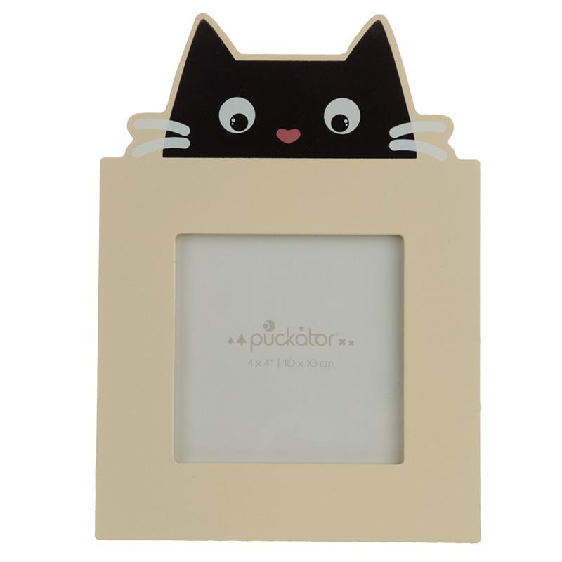 4 x 4 Wooden Photo Frame Feline Fine Black Cat
