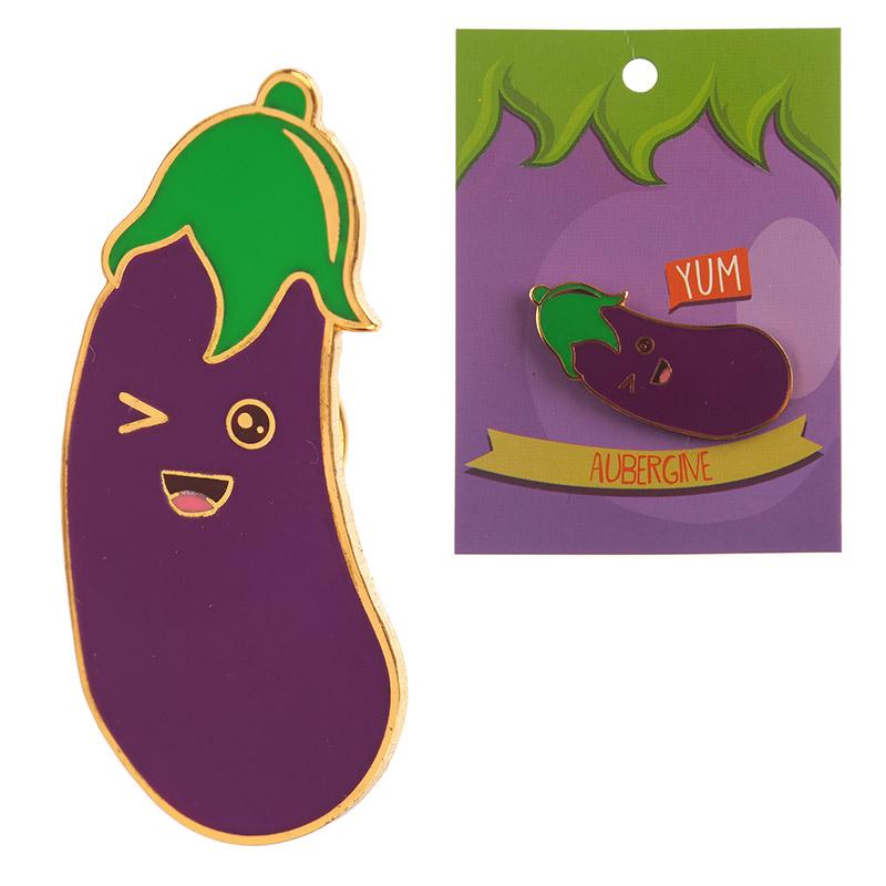 Fun Emotive Aubergine Egg Plant Design Enamel Pin Badge