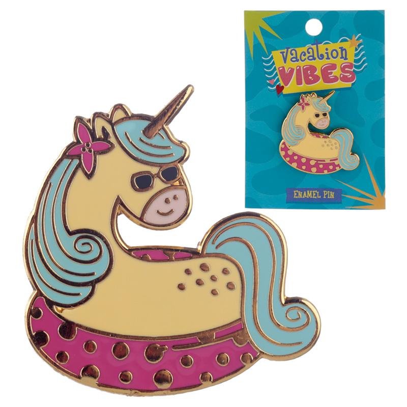 Novelty Vacation Unicorn Design Enamel Pin Badge
