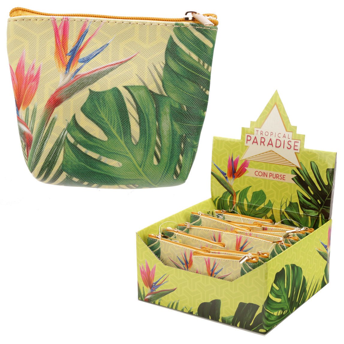 Handy PVC Make Up Bag Purse Tropical Cheese Plant Design