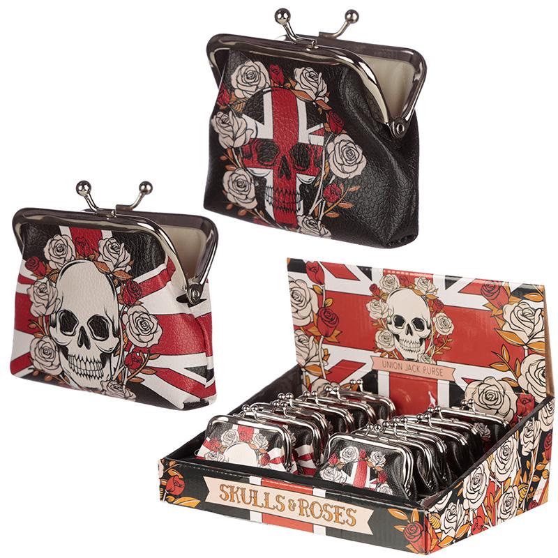 Union Jack Skulls and Roses Tic Tac Change Purse