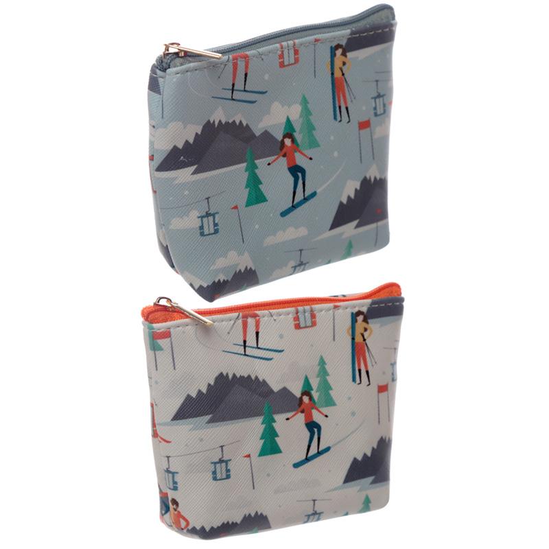 Handy PVC Make Up Bag Purse Peak Season Ski Design