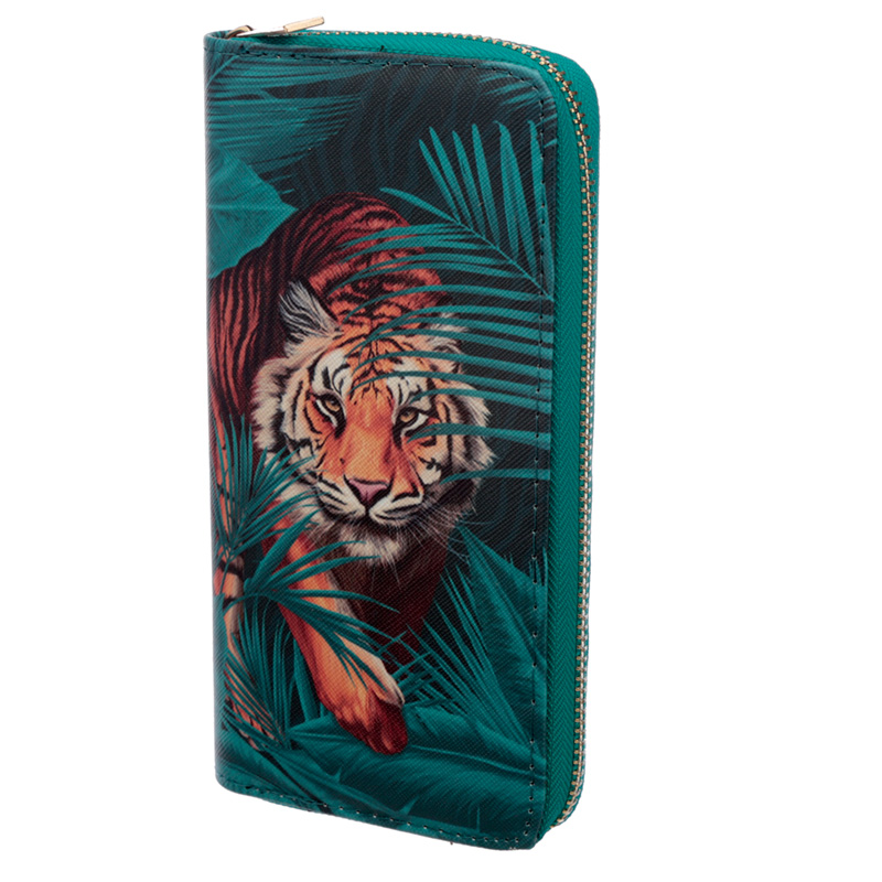 Large Zip Around Wallet Big Cat Spots and Stripes