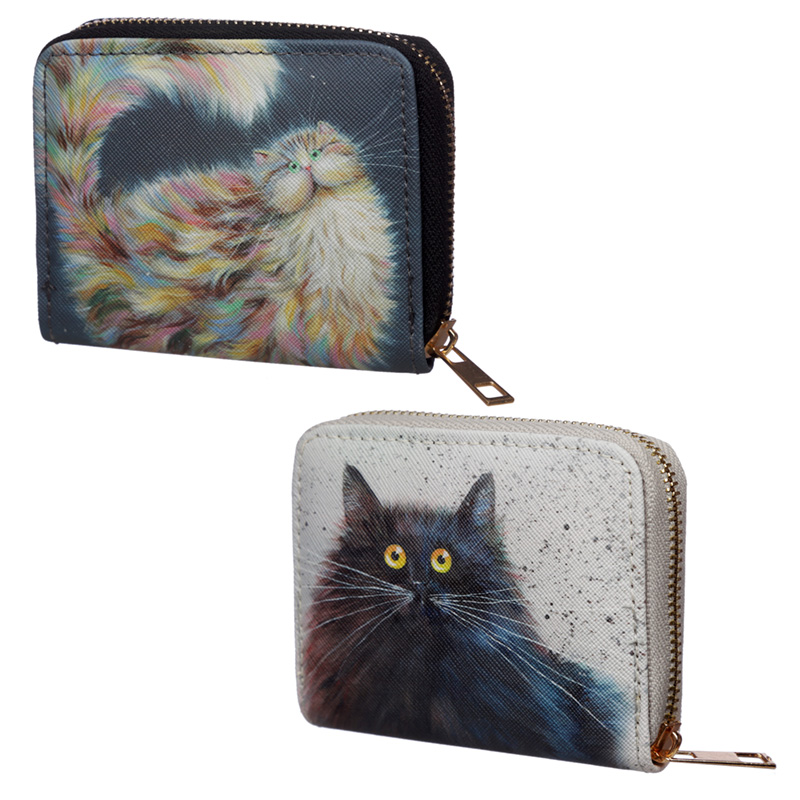 Small Size Around Wallet Kim Haskins Cat Design