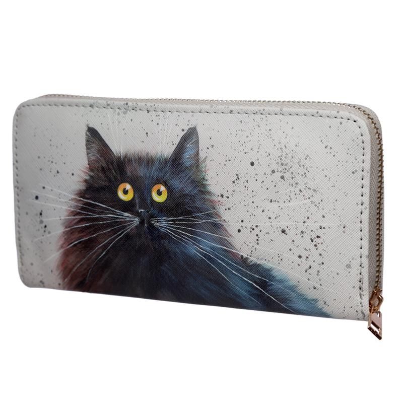Large Size Around Wallet Kim Haskins Cat Design
