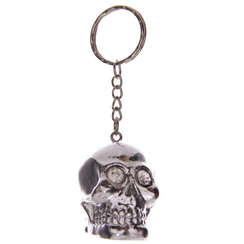 Silver Crystal Eyed Skull Cork Fantasy Keyring
