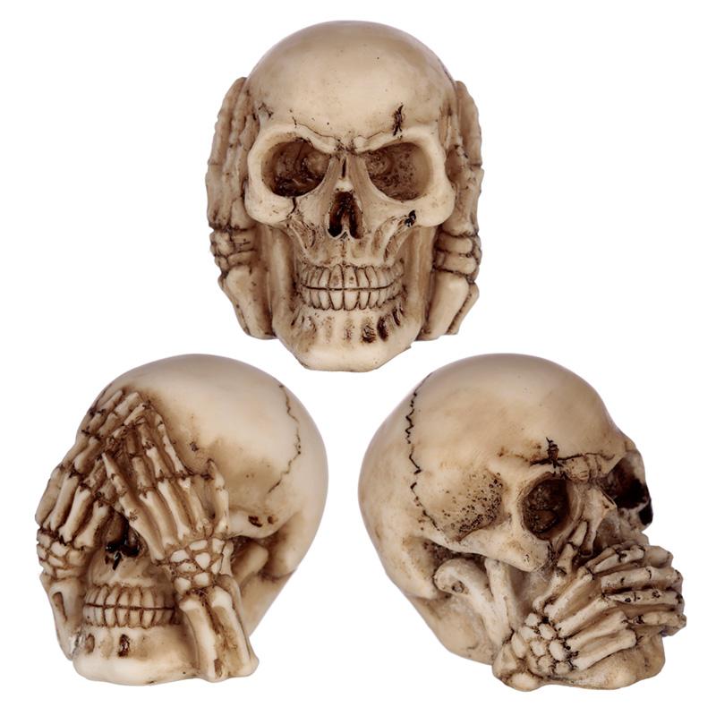 Speak No Hear No See No Evil Set of 3 Skulls
