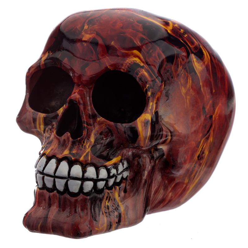 Fantasy Marble Flame Skull Head Ornament
