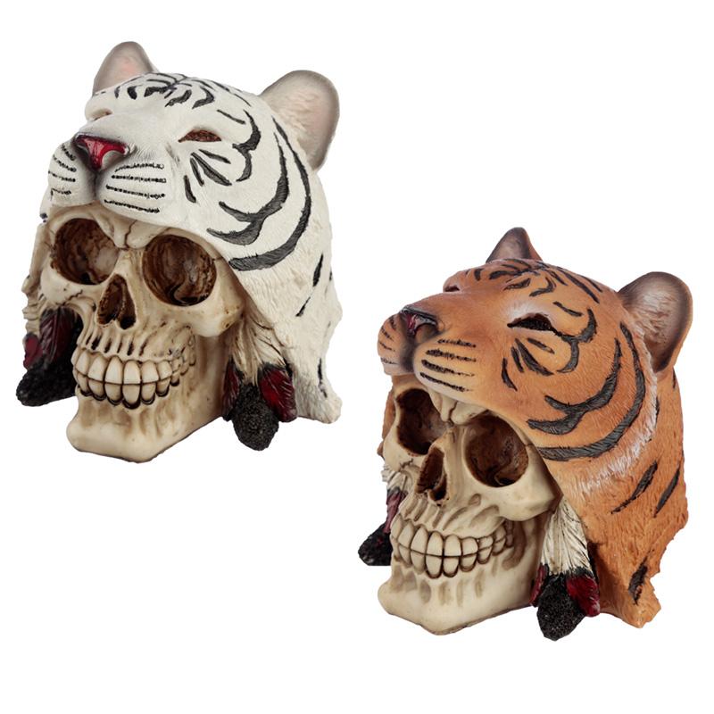 Fantasy Skull in Tiger Headdress Ornament
