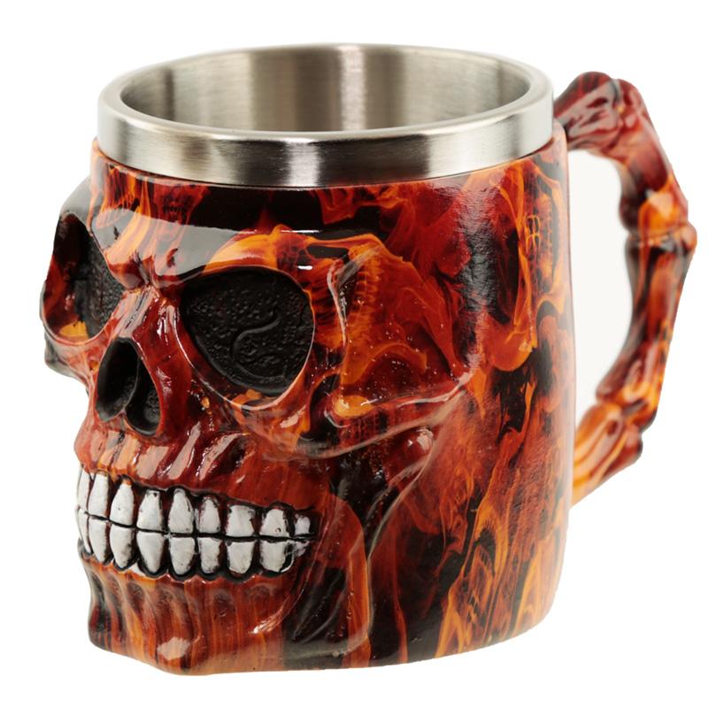 Collectable Decorative Dark Flames Marble Skull Tankard