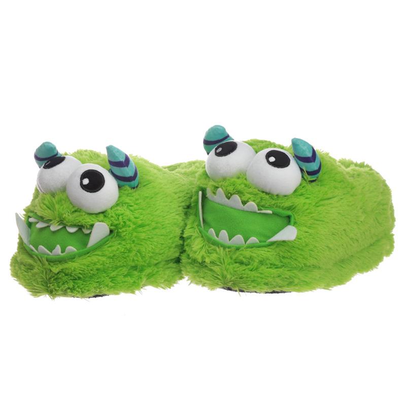 Green Monstarz Monster Unisex One Size Pair of Plush Slippers