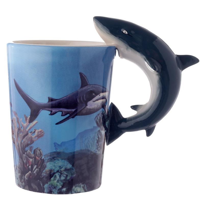Novelty Sealife Design Shark Shaped Handle Ceramic Mug
