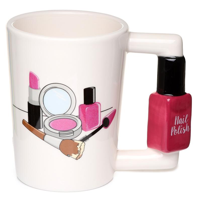 Fun Nail Varnish Shaped Handle Ceramic Mug
