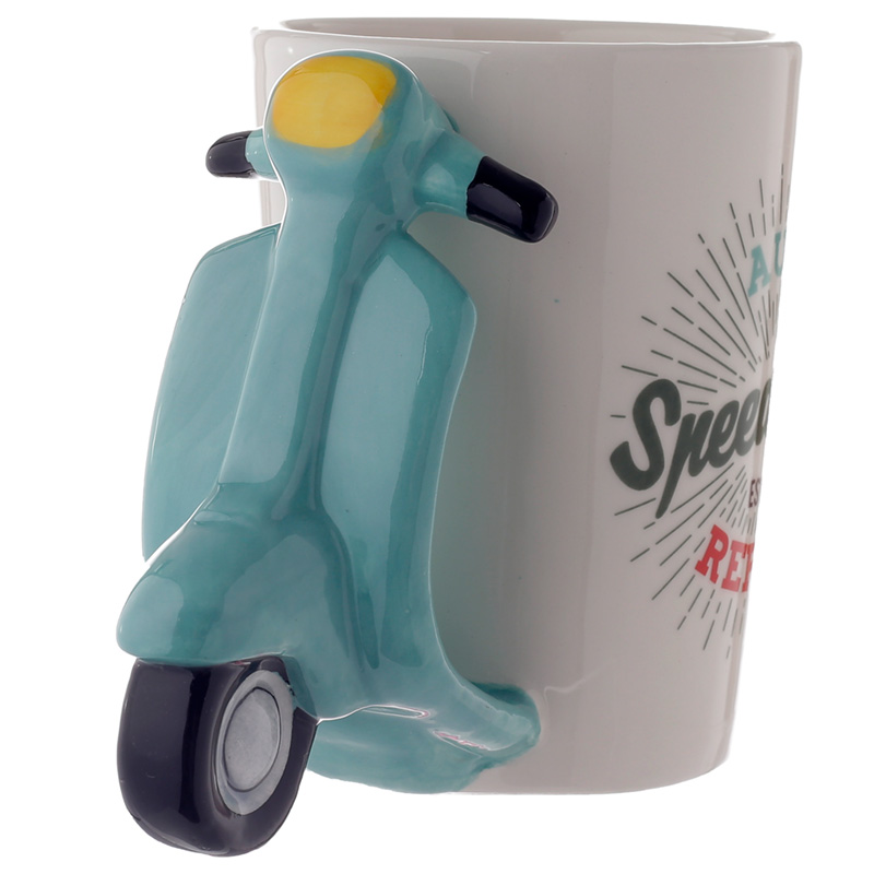 Fun Scooter Shaped Handle Ceramic Mug