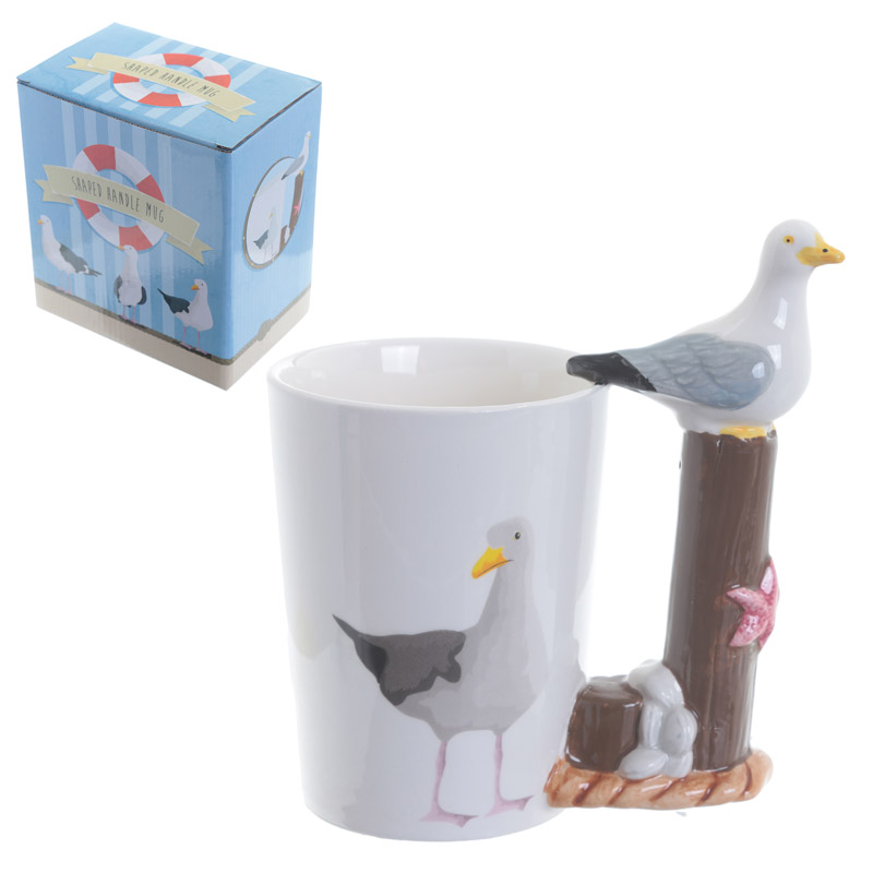 Fun Seagull Shaped Handle Ceramic Mug