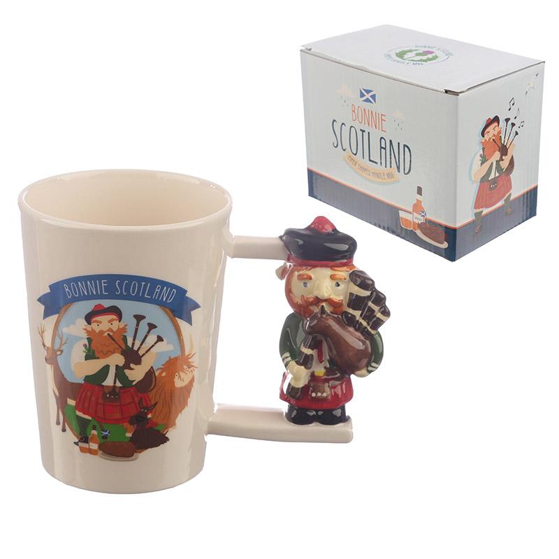 Collectable Scottish Piper Shaped Handle Ceramic Mug