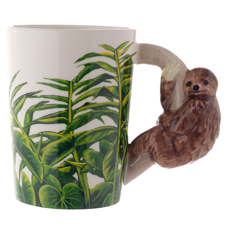 Ceramic Sloth Shaped Handle Mug