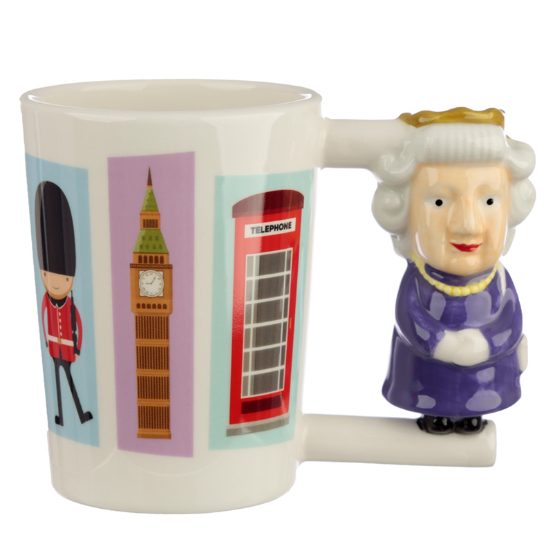 Collectable Shaped Handle Ceramic Mug Queen