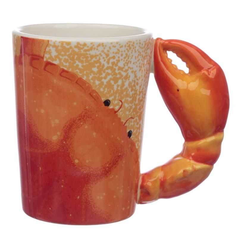 Fun Crab Claw Shaped Handle Ceramic Mug