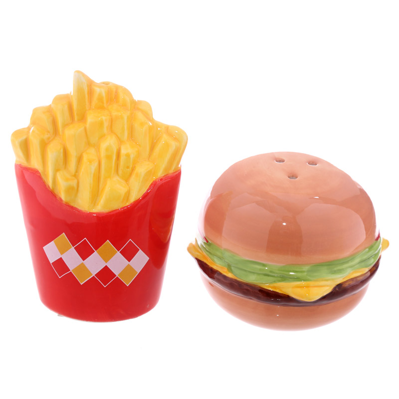 fast food burger und fritten salz und pfefferstreuer set 12578 puckator dropship. Black Bedroom Furniture Sets. Home Design Ideas