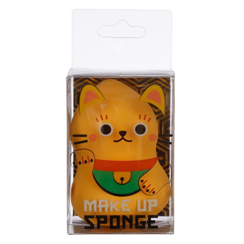 Cutiemals Makeup Applicator Sponge Gold Lucky Cat Maneki Neko