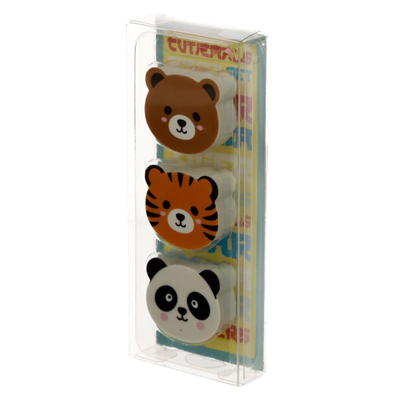 Cutiemals 3 Piece Eraser Set