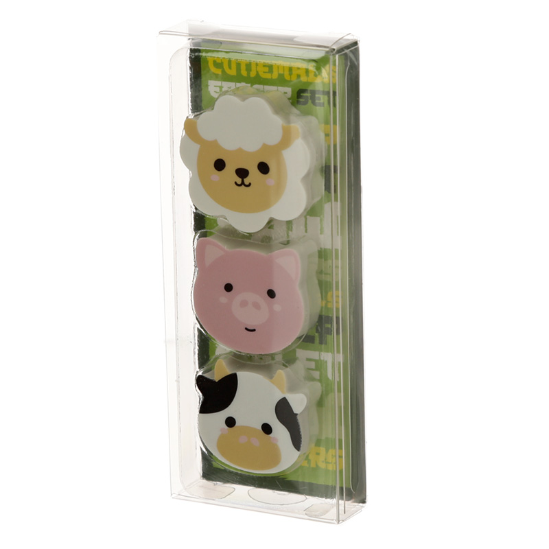 Cutiemals Farm 3 Piece Eraser Set