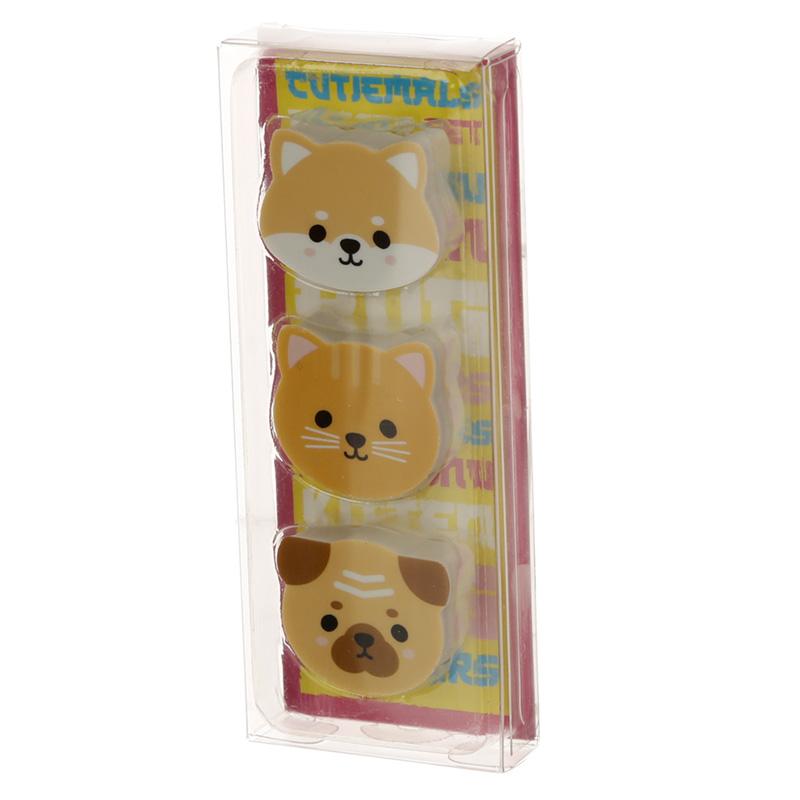 Cutiemals Pug Cat Shiba Inu 3 Piece Eraser Set