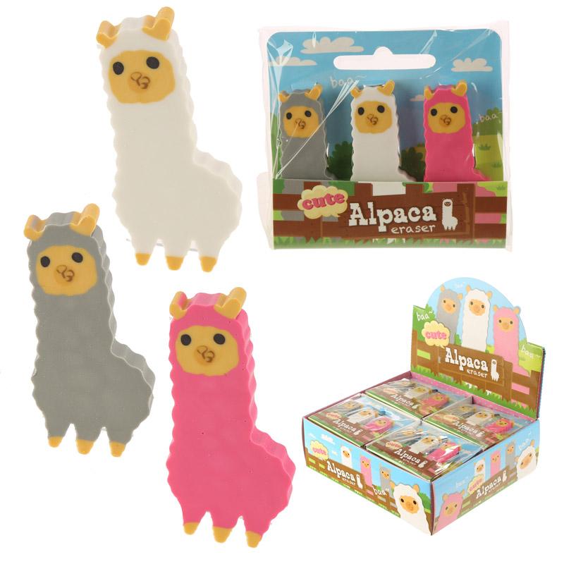 Fun Cute Alpaca Eraser Set of 3