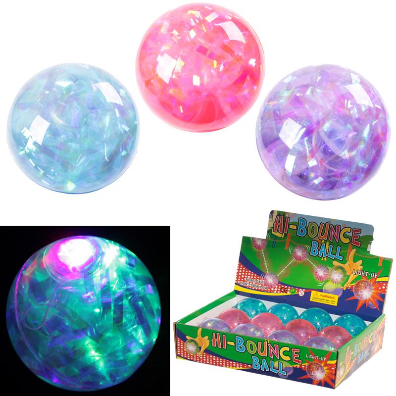 Fun Kids Flashing Rubber Bouncy Ball - Multi Glitter, Bouncy Balls