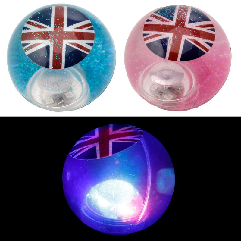 Fun Kids Flashing Bouncy Union Flag Glitter Ball, Bouncy Balls
