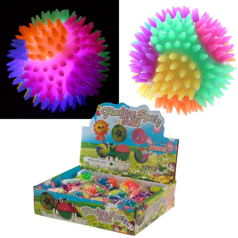 Fun Kids Spiky Bouncy Light Up Ball 7cm, Bouncy Balls