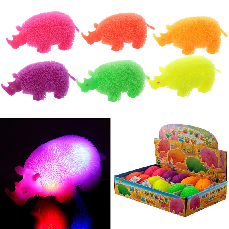 Fun Kids Light Up Squidgy Rhino Puff Pet