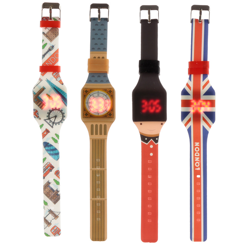 Silicone Digital Watch London Icons