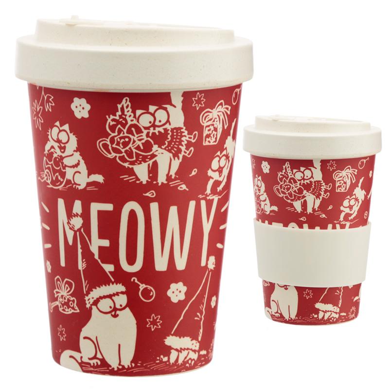 Bamboo Eco Friendly Christmas Simons Cat Screw Top Travel Mug