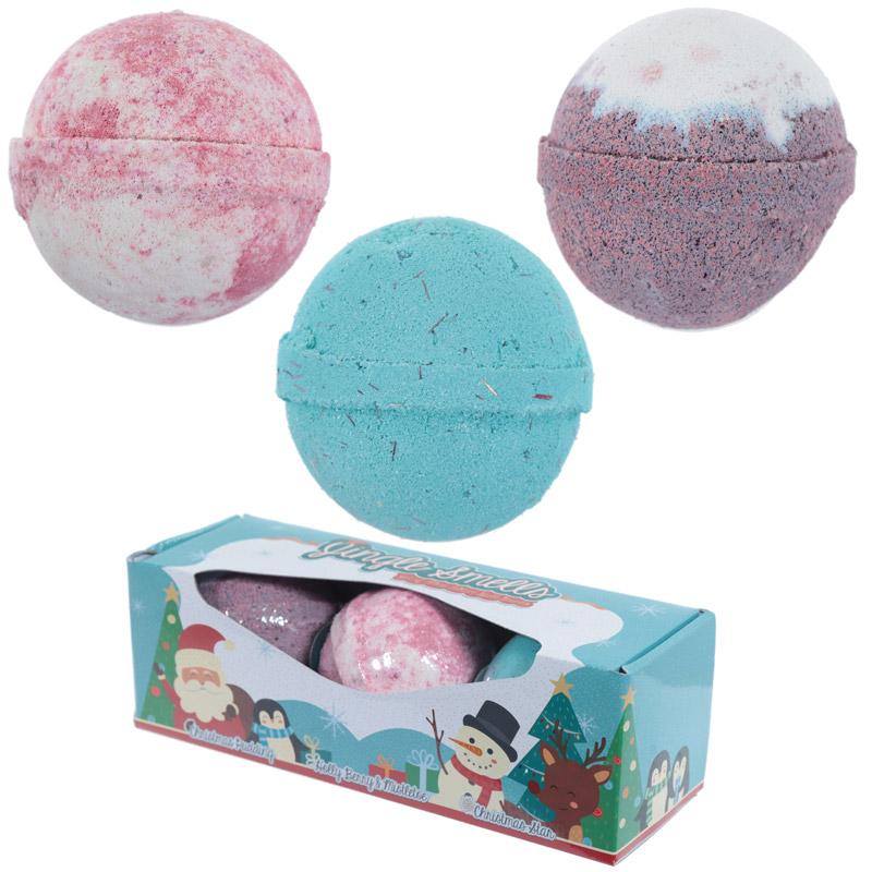 Handmade Bath Bomb Set of 3 Christmas Fragrances in Gift Box