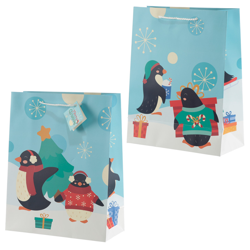 Penguins Large Christmas Gift Bag