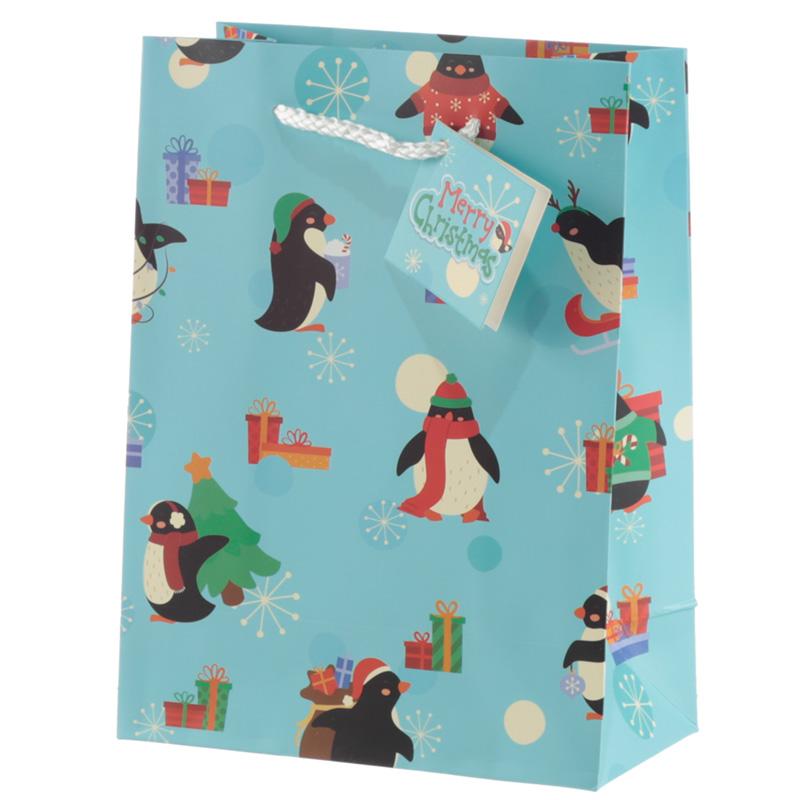 Penguins Medium Christmas Gift Bag