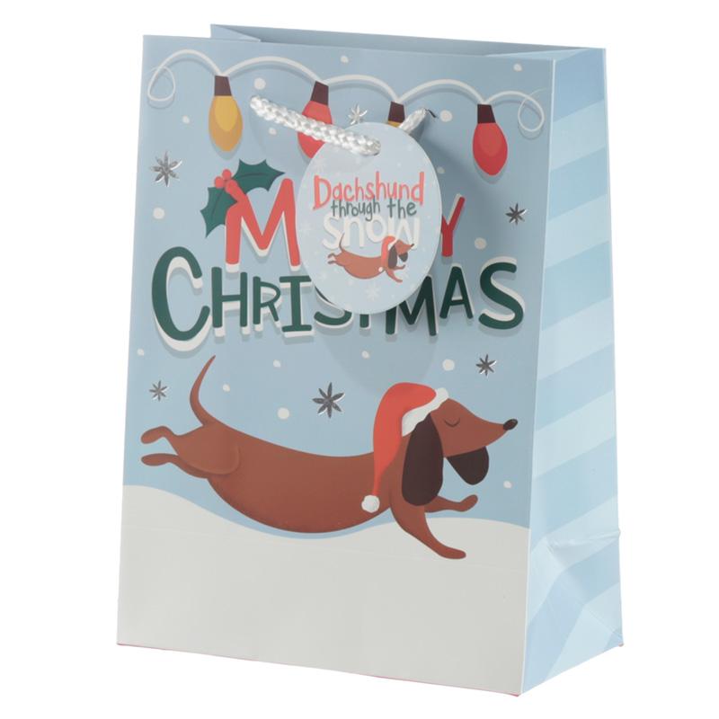 Dachshund Through the Snow Medium Christmas Gift Bag